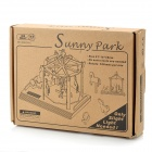 DIY Solar Powered Merry Go Round Wooden Puzzle Kid's Toy - Beige