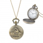 TS-102 Retro Classic Train Pattern Quartz Pocket Watch w/ Chain - Bronze (1 x LR626)