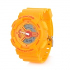 G-SHORS YQ-11 Sport Rubber Band Quartz Analog + Digital Waterproof Wrist Watch - Yellow (1 x CR2025)