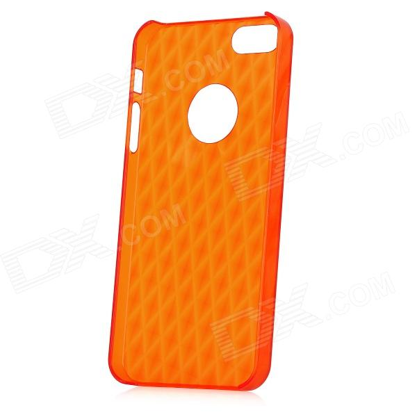 Stylish 3D Rhombus Pattern Protective PC Back Case for Iphone 5 - Translucent Red