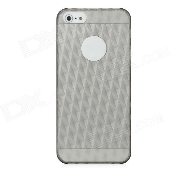 Stylish 3D Rhombus Pattern Protective PC Back Case for Iphone 5 - Translucent Black