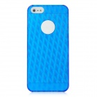 Stylish 3D Rhombus Pattern Protective PC Back Case for iPhone 5 - Translucent Blue