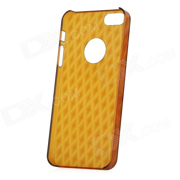 Stylish 3D Rhombus Pattern Protective PC Back Case for Iphone 5 - Translucent Coffee