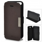 Protective Flip-Open PU Leather & Plastic Case for iPhone 5 - Coffee