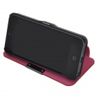 Protective Flip-Open PU Leather & Plastic Case for Iphone 5 - Red