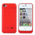 Rechargeable 1900mAh External Power Battery Back Case for iPhone 4 / 4S - Red