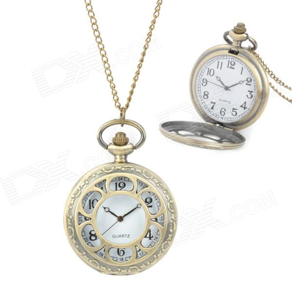 TS-101 Retro Classic Hollowed-Out Quartz Pocket Watch w/ Chain - Bronze (1 x LR626) 4 design bronze vintage quartz pocket watch free mason sword art online gear necklace pendant chain womens mens gifts p1123