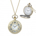 TS-101 Retro Classic Hollowed-Out Quartz Pocket Watch w/ Chain - Bronze (1 x LR626)