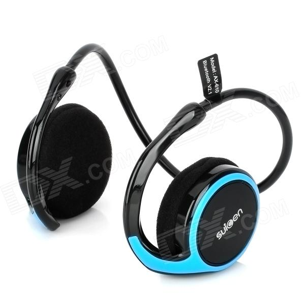 AX-610 Bluetooth V2.1+EDR Stereo Headset Headphones with Microphone - Black + Blue universal super long standby wireless bluetooth headset with edr microphone black