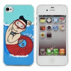 Gangnam Style Mermaid PSY Pattern Protective Plastic Back Case for iPhone 4 / 4S - Red + Blue