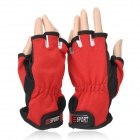 Sport Antiskid Polyester Half Finger Gloves - Red + White + Black (Pair)