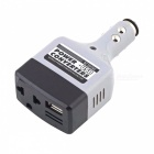 12W DC 12~24V to AC 220V Car Auto Power Inverter w/ USB Port - Black