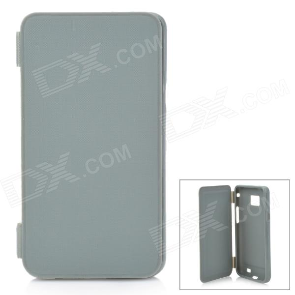 Protective Flip-Open Soft Plastic Case for Samsung Galaxy S2 i9100 - Grey protective ps plastic case for samsung i9100 galaxy s2 translucent white