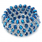 Retro Blue Crystal Wide Bracelet - Blue + Silver