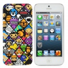 Cartoon Animals Pattern Protective Plastic Back Case for iPhone 5 - Purple + White + Black + Yellow