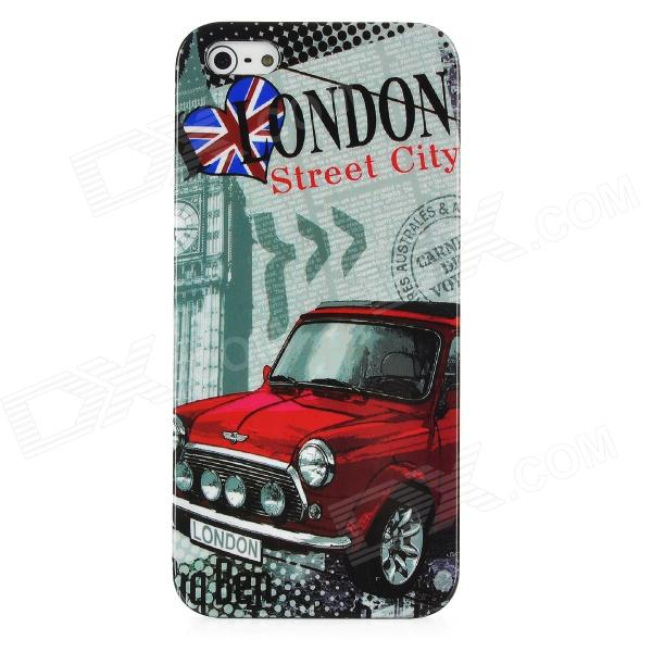 London Street Style Protective Plastic Back Case for Iphone 5 - Grey + Red london pattern protective plastic back case w front screen protector for iphone 5 grey red