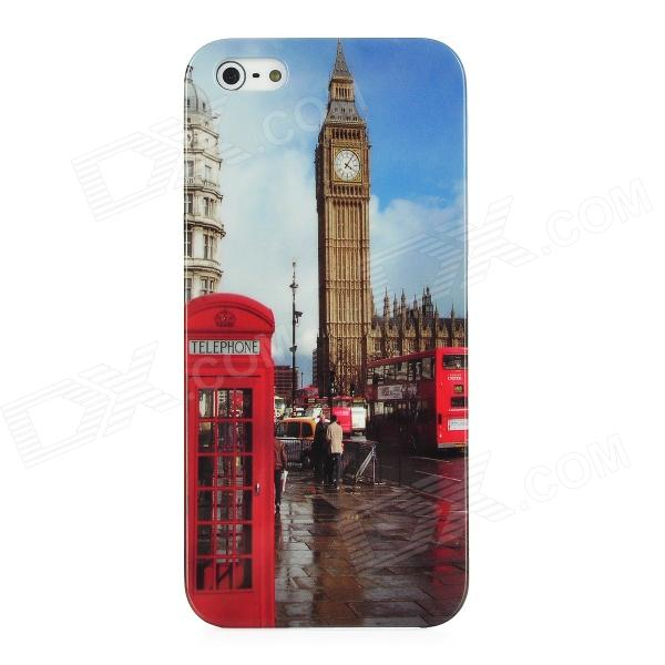London Big Ben Style Protective Plastic Back Case for Iphone 5 - Red + Blue + Brown london pattern protective plastic back case w front screen protector for iphone 5 grey red