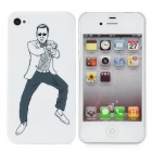Fun Gangnam Style PSY Pattern Protective Back Case for iPhone 4 / 4S - White + Black