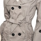 Fashion Woman's Cotton Coat Jacket w/ Double Breasted + Side Front Pocket - Grey Beige (Size L)