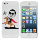 Fun Gangnam Style PSY Horse Riding Pattern Protective Back Case for iPhone 5 - White
