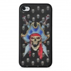 Scary 3D Pirate Skull Pattern Protective Plastic Back Case for Iphone 4 / 4S - Black