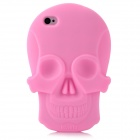 Cool Skull Head Style Protective Soft Silicone Back Case for Iphone 4 / 4S - Pink
