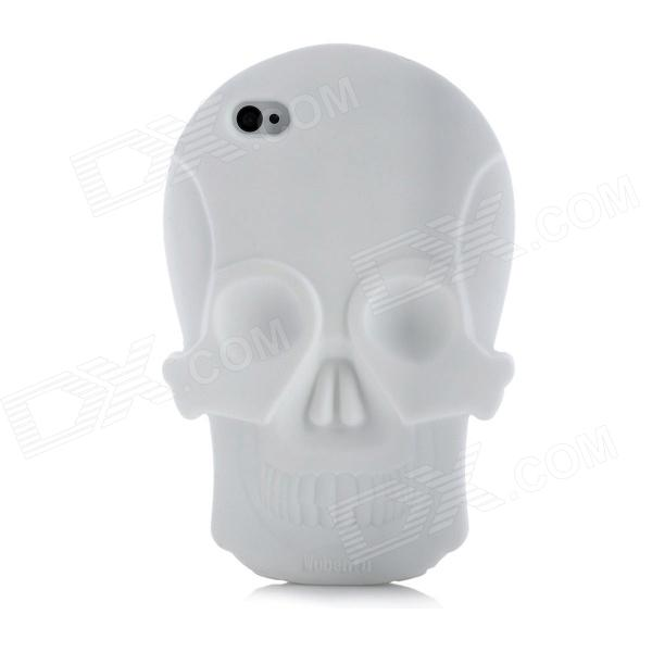 Cool Skull Head Style Protective Soft Silicone Back Case for Iphone 4 / 4S - White