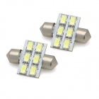 Festoon 31mm 3W 300lm 6-SMD 5630 LED White Light Car Reading / License Plate Lamp (12V / 2 PCS)