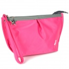 41030002 Nylon Cosmetic Clutch Bag w/ Zipper / Strap - Deep Pink
