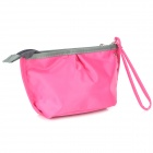 Nylon Cosmetic Clutch Bag w/ Zipper / Strap - Deep Pink