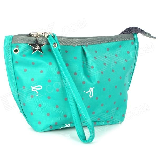 Polka Dot Pattern Nylon Cosmetic Clutch Bag w/ Zipper / Strap - Green