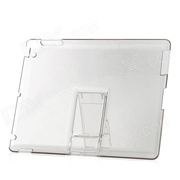Ultra Thin Protective Plastic Back Case w/ Stand for Ipad 2 / The New Ipad - Transparent White
