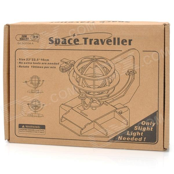 Solar Powered DIY 3D Space Traveler Style Wooden Puzzle Toy - Oyster White