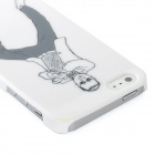 Fun Gangnam Style PSY Pattern Protective Back Case for iPhone 5 - White + Black
