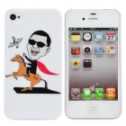 Fun Gangnam Style PSY Horse Riding Pattern Protective Back Case for iPhone 4 / 4S - White