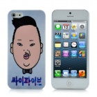 Gangnam Style Psy Pattern Protective Plastic Hard Back Case for iPhone 5 - White + Black