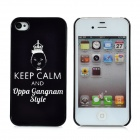 PSY Keep Calm And Oppa Gangnam Style Protective Hard Plastic for iPhone 4 / 4S - Black + White