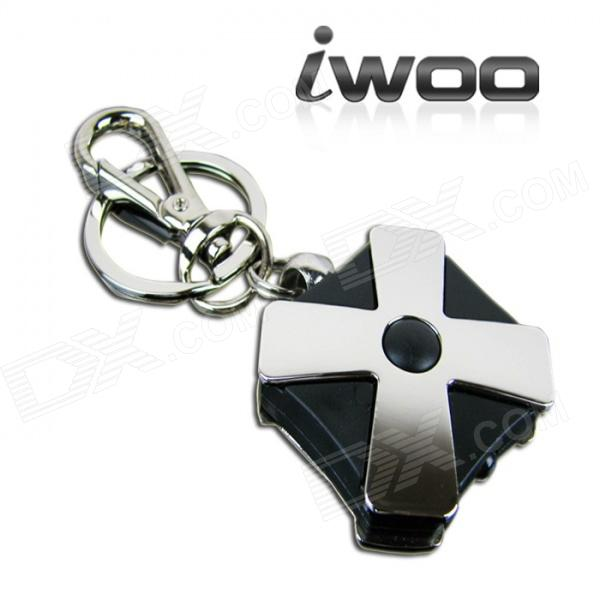 IWOO-006 Four Leaf Clover Keychain w/ Currency Detection LED - Black + Silver