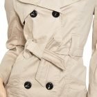 Fashion Woman's Cotton Coat Jacket w/ Double Breasted + Side Front Pocket - Apricot (Size XL)