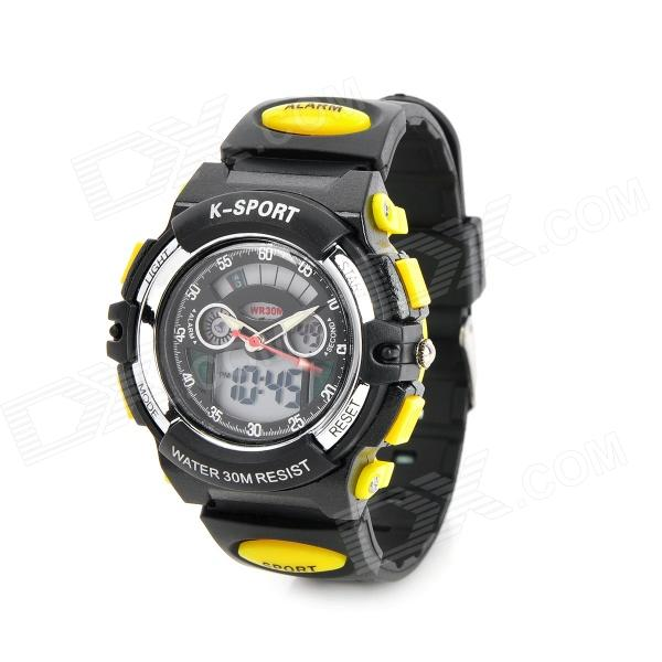 Multi-Function Kid's Rubber Band Quartz Analog + Digital Waterproof Watch w/ Snooze + Alarm - Black hoska hd030b children quartz digital watch