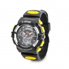 Multi-Function Kid's Rubber Band Quartz Analog + Digital Waterproof Watch w/ Snooze + Alarm - Black