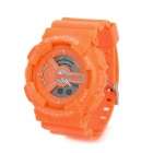 G-SHORS YQ-11 Sport Rubber Band Quartz Analog + Digital Waterproof Wrist Watch - Orange (1 x CR2025)