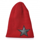 Five-Pointed Star Pattern Acrylic Wool Knitting Warm Hat - Red