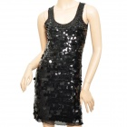 Fashion Net Yarn + Sequins Sleeveless Vest Dress - Black