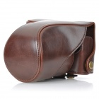 Protective PU Leather Camera Case Bag w/ Shoulder Strap for Panasonic GF2 - Brown