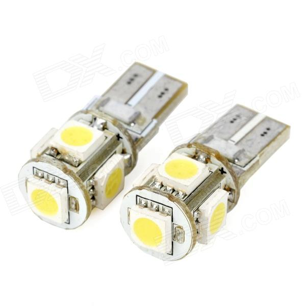 T10 1.5W 55lm 5-SMD 5050 LED White Light Decode Car Clearance Lamp (12V / 2 PCS)