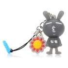 Cute Rabbit Stil Dekoration w / Caller Signal Blinkende LED & 3,5 mm Klinkenstecker - Dark Grey (1 x CR927)