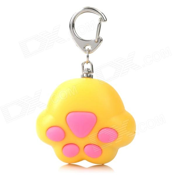 Cat Paw Style White Light 2-LED Flashlight Keychain w/ Meow Sound Effect - Yellow + Pink (3 x AG10) mini horn style aluminum alloy 3 led 1 mode white light flashlight keychain red 3 x ag10