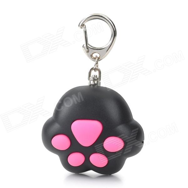 Cat Paw Style White Light 2-LED Flashlight Keychain w/ Meow Sound Effect - Black + Pink (3 x AG10) mini horn style aluminum alloy 3 led 1 mode white light flashlight keychain red 3 x ag10
