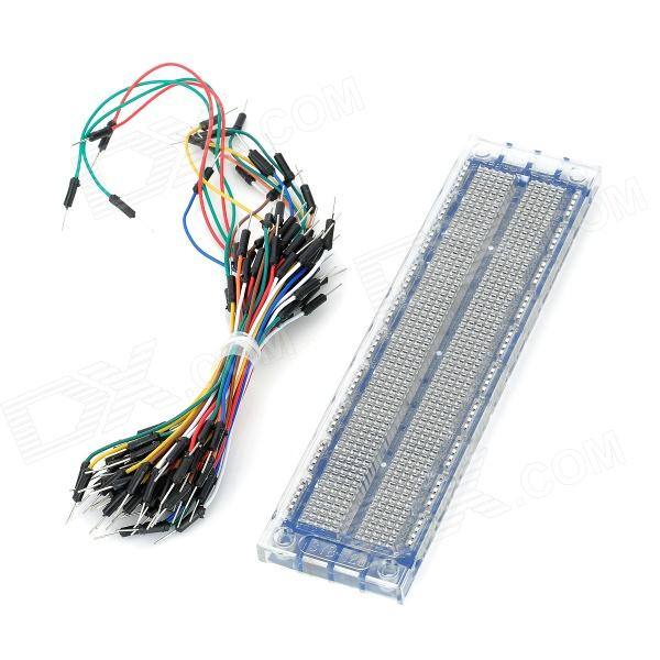 Breadboard with Jump Wires Kit for Electronic DIY - Blue + Transparent White